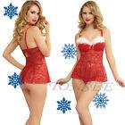 Christmas Women Cotton Costume Hot Sexy Charming LadyRed Dress Fancy Underwear