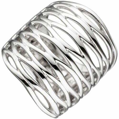 50-62 Damen Ring 925 echt Silber rhodiniert 11 mm breit ohne Stein 6-reihig Gr