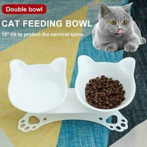 Non-slip Cat Double Bowls w/Raised Stand Pet Dish Food Bowl Water Dog X5A2