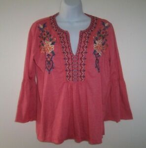 Johnny Was Workshop BoHo tunic top S cotton blend embroidered w/ bell sleeves