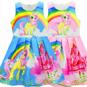 Girls-KIds-Rainbow-Unicorn-Dress-Princess-Party-Birthday-Fancy-Costume-k8