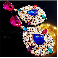Hot Fashion Charm Colorful Crystal Leaf Drop Rhinestone Big Dangle Stud Earring
