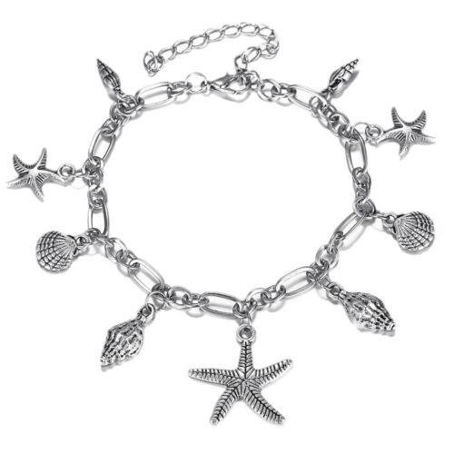 Fashion Femmes Plaqué Argent mer Starfish Conch Shell Chain Beach Bracelet Bangle