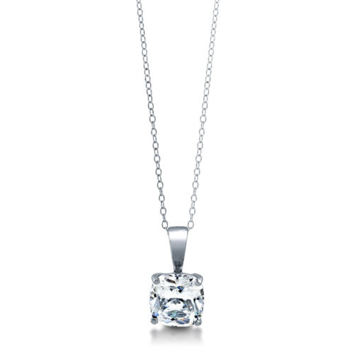 BERRICLE Sterling Silver Cushion CZ Solitaire Anniversary Wedding Necklace 3 CTW