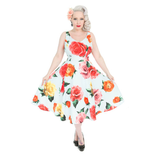 Hearts & Roses London Oversize Stampa Floreale Blu Vintage con 1950 S Flare Dress