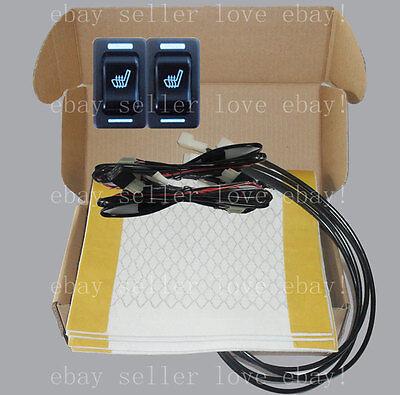 HI-OFF-LO Round Switch Seat Heater 2 Seats Heated Seat Kit Fits 12V Cars Trucks