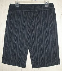 WOMENS-JUNIORS-Studio-Y-NAVY-BLUE-PINSTRIPE-DRESS-SHORTS-SIZE-3-4