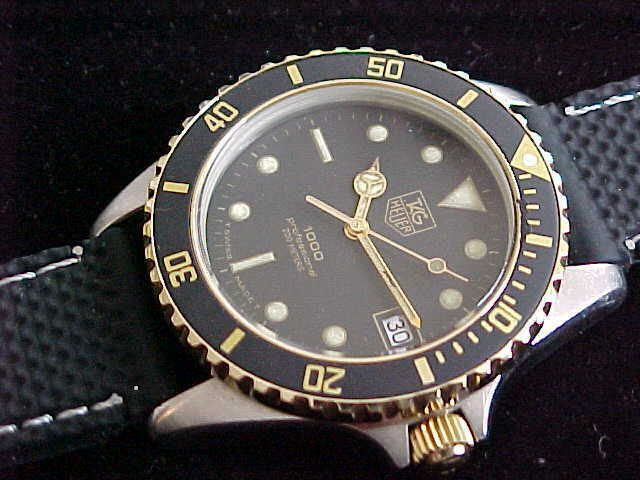 big sale 206d1 43e4e Vintage Man's Tag Heuer 1000 Submariner 980.020N Black Dial Rubber Dive Band