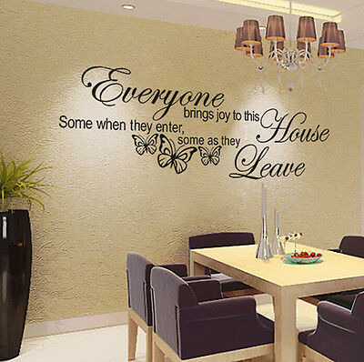 Removable Butterfly Art Vinyl Quote Decal Mural Decor Living Room Wall Stickers
