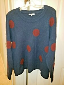 Madewell Women's Navy Blue & Burgundy Polka Dot Graystone Pullover Sweater S NEW