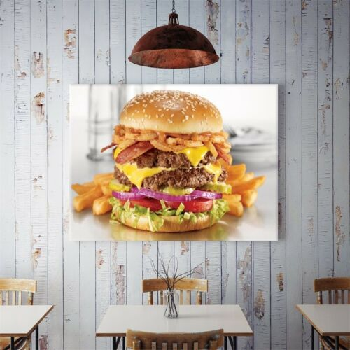 Yummy Hamburger Canvas Poster Art Picture Prints Kitchen Wall Hanging Decor HY2
