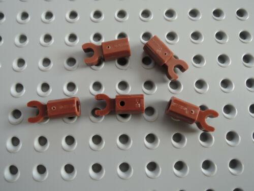 Lego 5 x Griff  Stange Halter mit Clip 11090 rotbraun