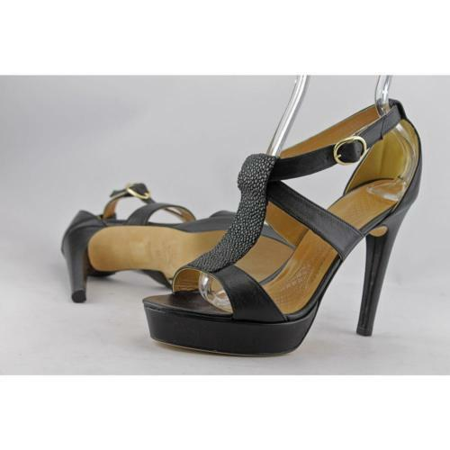 ANYA HINDMARCH VIVIEN BLACK LEATHER STINGRAY 40 STRAPPY SANDALS HEELS 7 40 STINGRAY a9f7f6
