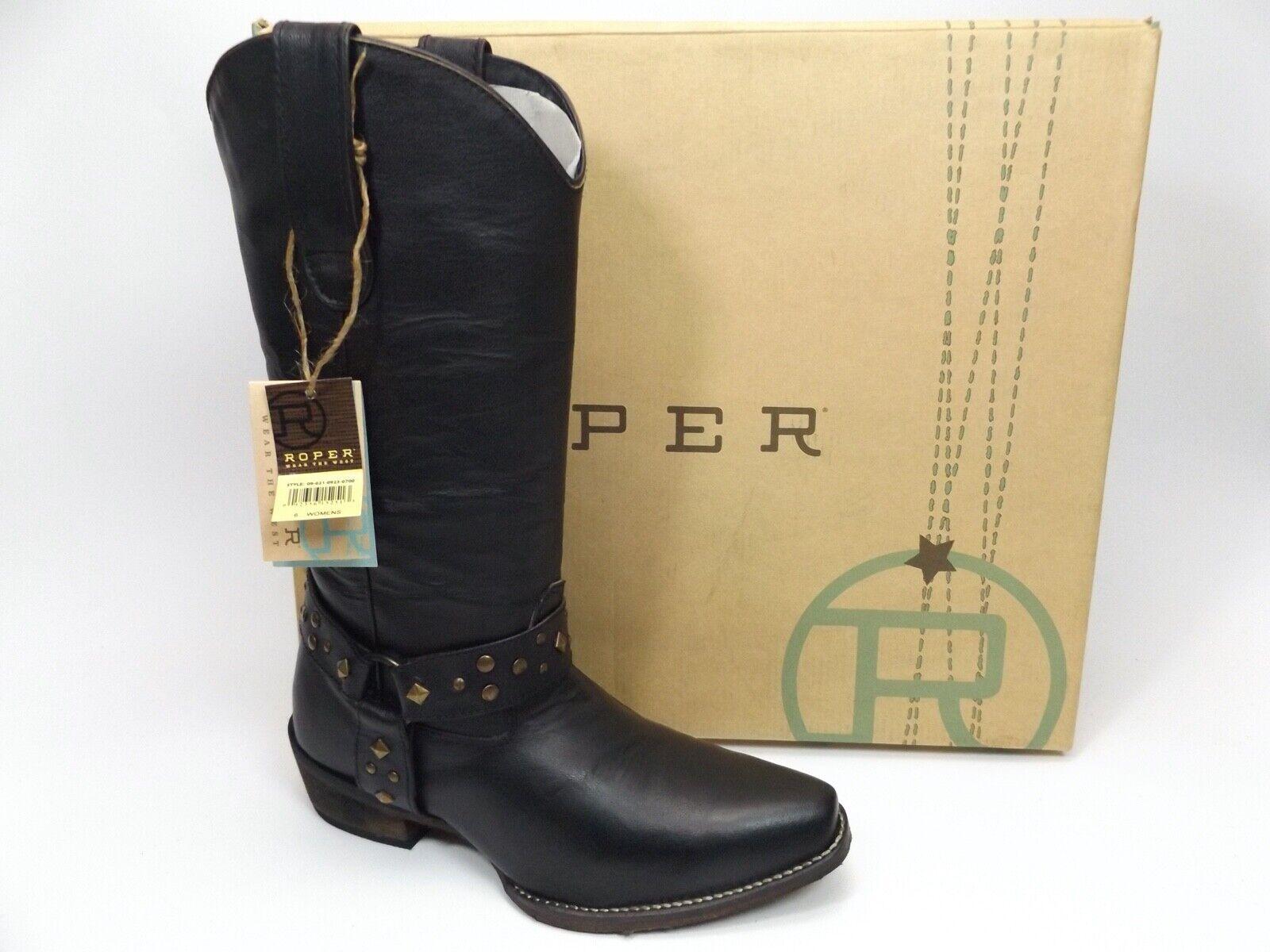 Roper Studded Harness Square Snip Western Cowboy Boots Women's SZ 6.0 M, D13611