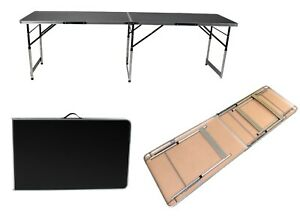 6.5 FT Height Adjustable Folding Table Black Aluminium Lightweight Trade Shows