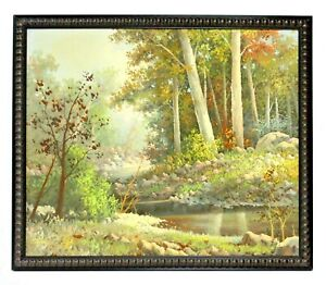 Country-Stream-Forest-Landscape-20-x-24-Art-Oil-Painting-on-Canvas-w-Wood-Frame
