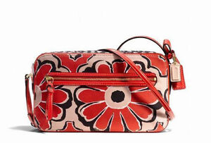 Coach Poppy 168 Floral Flight Bag 25121 Orange Red Black Flower