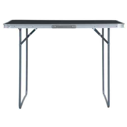 Camping Table Foldable Grey Aluminium 120cm Outdoor Picnic Party BBQ Stand Desk