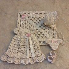 """HEIRLOOM QUALITY 6 PC. CROCHETED DRESS SET FOR 5"""" ALL BISQUE BYE LO DOLL*by Tina"""