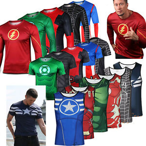 c163a079 Image is loading Marvel-Superhero-Compression-Tops-T-shirt-Men-Cycling-