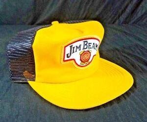 Vtg-Jim-Beam-Whiskey-Hat-USA-Made-Trucker-Snapback-Size-A-Just-Black-Yellow-Cap