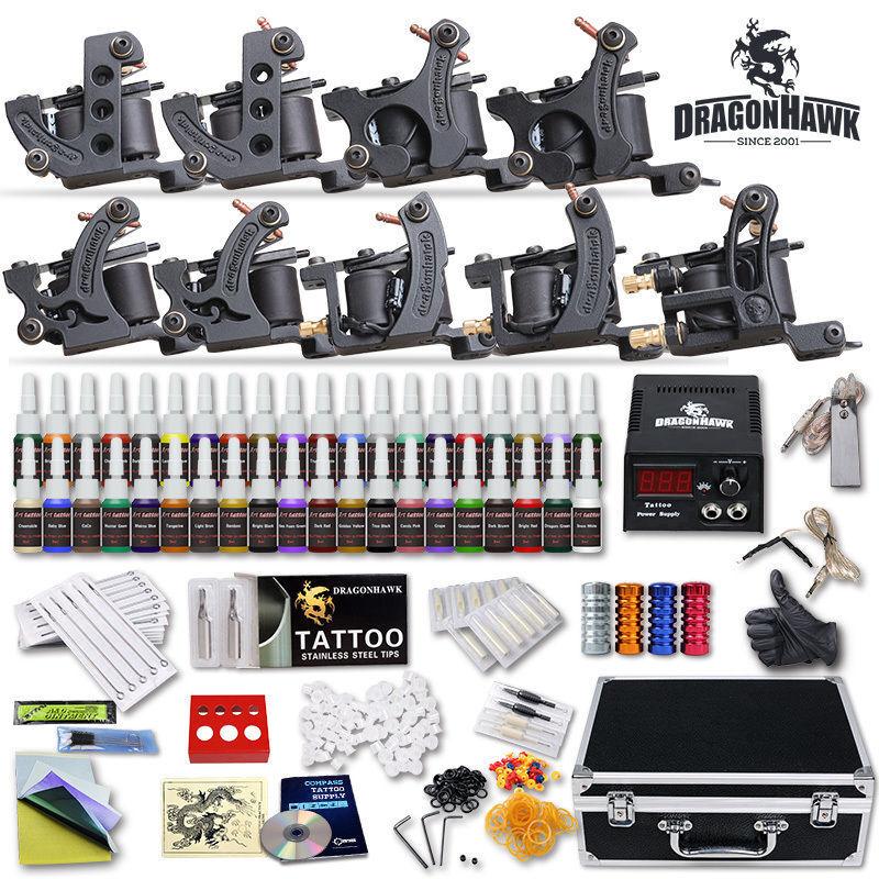 Professional complete tattoo kit 9 top machine gun 40 ink for Full tattoo kit