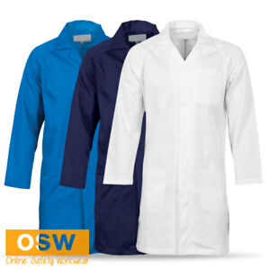 Details about UNISEX SAFETY DUST LAB COAT METAL PRESS STUDS RAGLAN SLEEVE -  WHITE/NAVY/BLUE