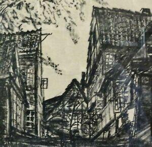 Hans Russ.??-unleserlich - Lithographie 1933: ALT-HAMBURG, BLICK v LANGENGANG 51