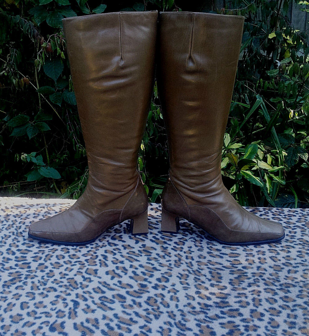 botas Vintage De Cuero Marrón Vintage botas mezzo UK Talla 5.5 EU 38.5 53362a
