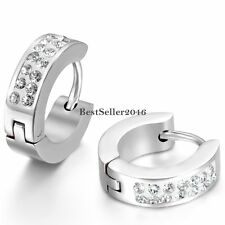 Shiny Crystal Rhinestone Huggie Hinged Hoop Stainless Steel Earrings Mens Womens