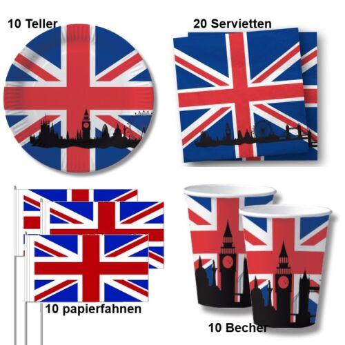 Becher Servietten Teller Fahne 50 tlg Großbritannien Party Deko Set England