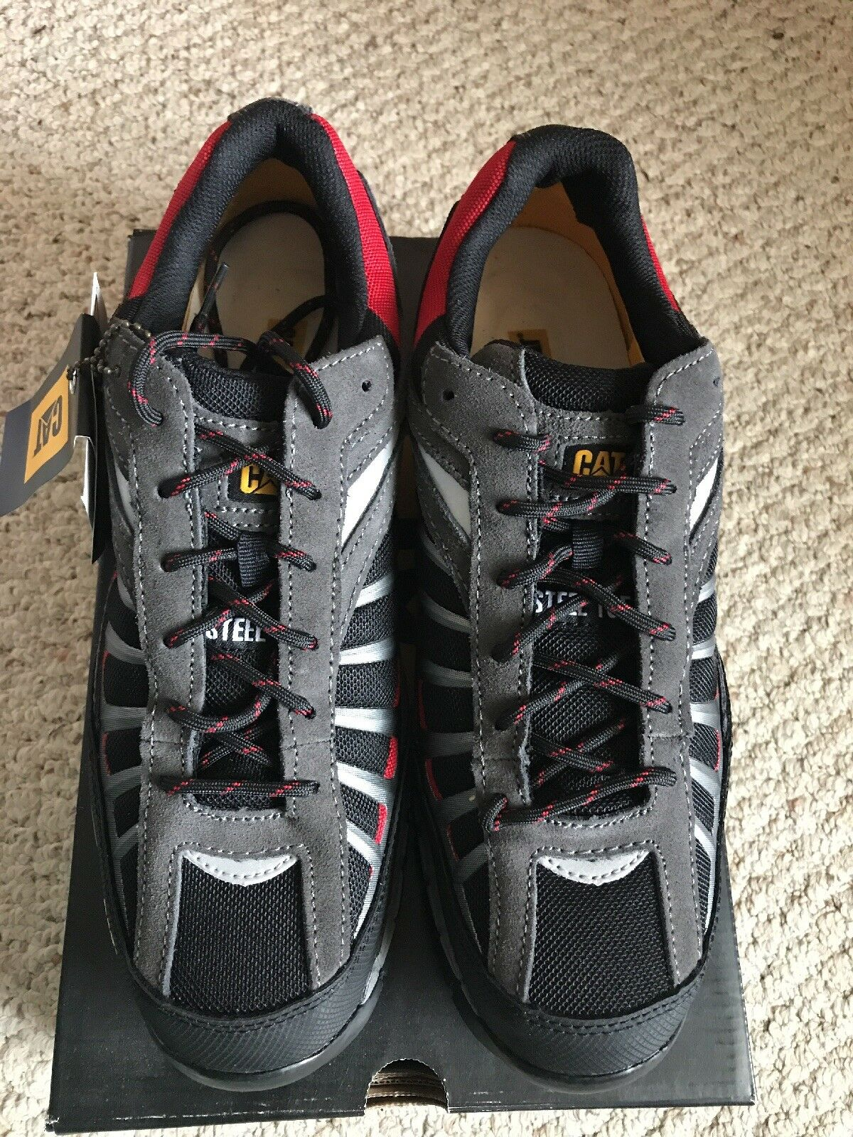 CATERPILLAR INFRASTRUCTURE Mens Steel Toe Safety Shoe Red/Blk/Gry NIB!