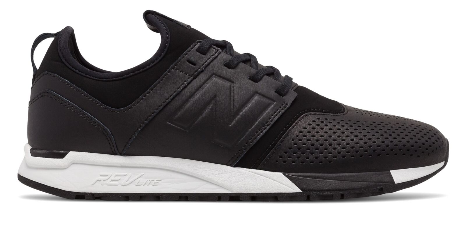 New Balance Homme 247 Leather Chaussures Noir with Blanc