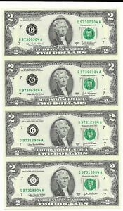 FRN-Uncut-Sheet-of-4-Series-2003A-Chicago-District-Top-Serial-G-97300904-A