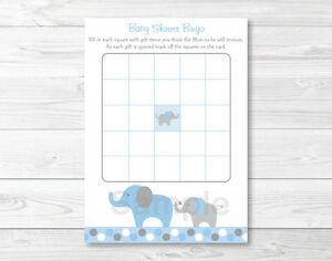 picture relating to Printable Baby Shower Bingo identify Information around Blue Grey Polka Dot Elephant Printable Kid Shower Bingo Playing cards