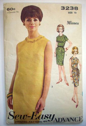 1960's 1970's SewEasy straight dress with optional belt pattern 3238 sz 10