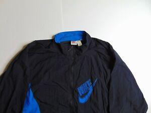 VTG-Nike-Men-2XL-Black-Windbreaker-Jacket-Full-Zip-Gray-Tag-Big-Swoosh-Lined-90s