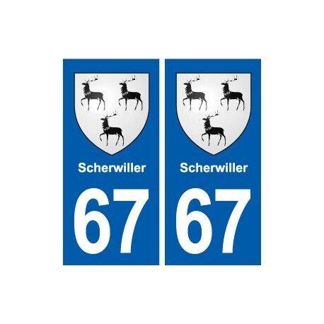 67 Scherwiller blason autocollant plaque stickers ville -  Angles : droits