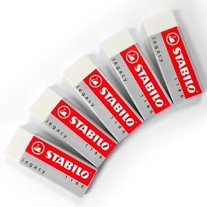 5-x-Stabilo-Legacy-Mars-Eraser-Plastic-Rubber-Erasers-White