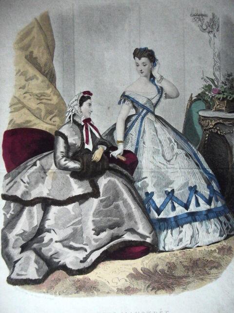 GRAVURE MODE ANCIENNE 19e - LA MODE ILLUSTREE - 1865 - GRAND FORMAT
