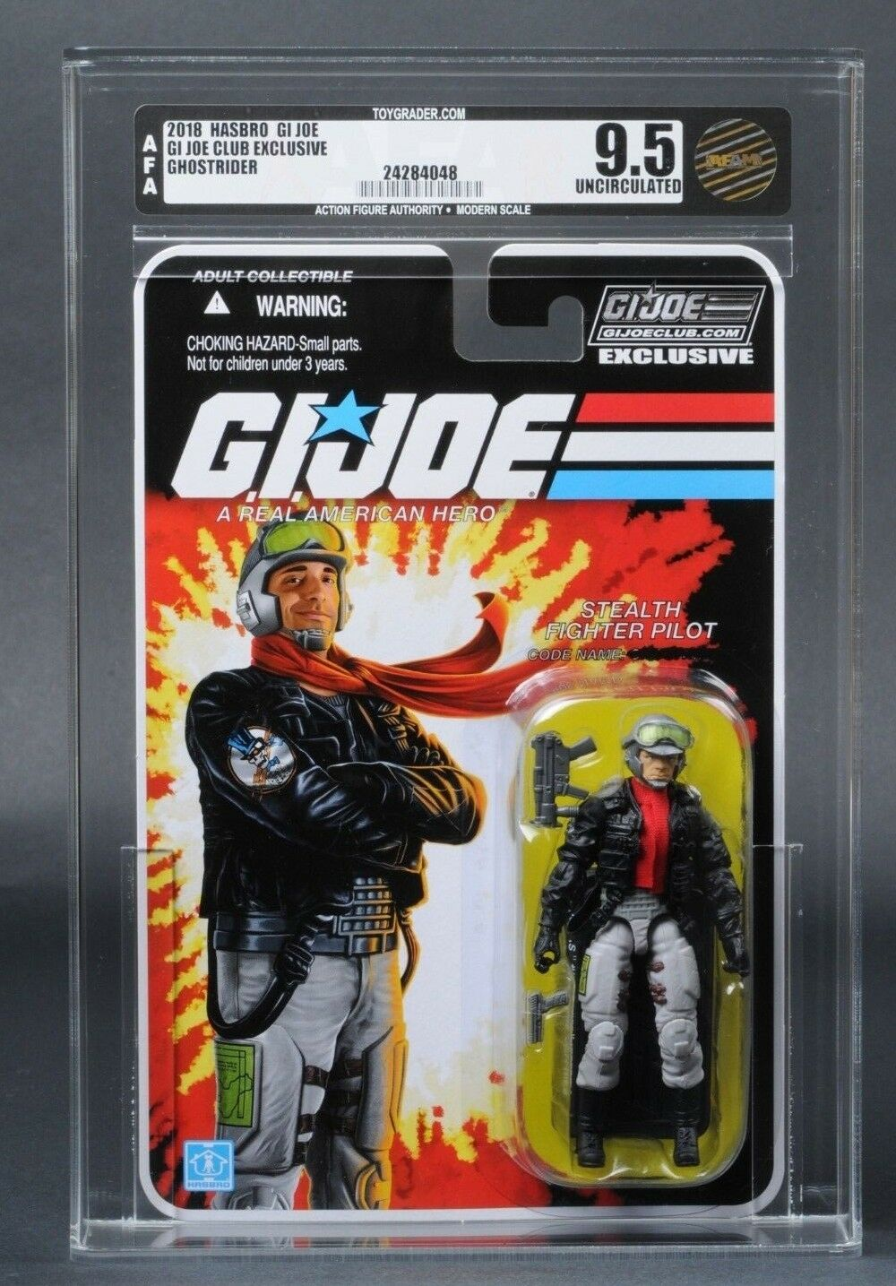2018 GI Joe Stealth Fighter Pilot Ghostrider AFA U9.5 Club Exclusive FSS 6.0 MOC
