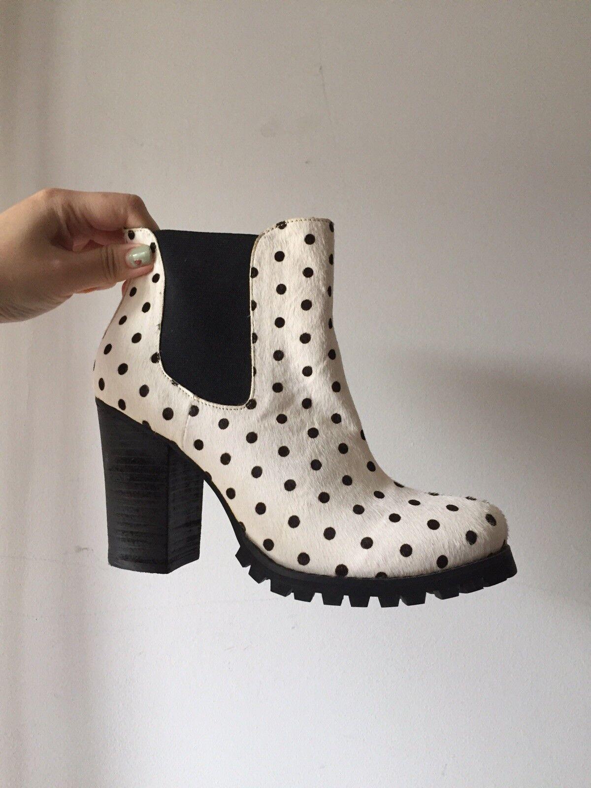 Nastygal Shoe Cult Black & White Pony Hair Chelsea Heeled Boots Size U.S 8.5 New