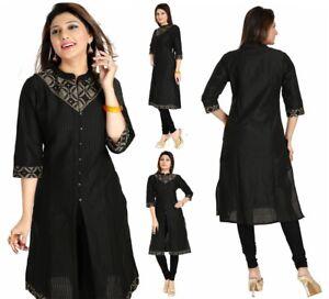 Indian-Pakistani-Designer-Party-Black-Cotton-Kurta-Kurti-Tunic-Dress-Women-MM103
