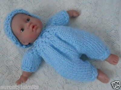 """Doll Clothes Blue Hand knitted 3 pc set for reborn baby boy 11"""" fit Berenguer 12"""