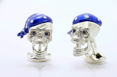Deakin and Francis Silver Pirate Skull Cufflinks Moving Jaw & Sapphire Eyes
