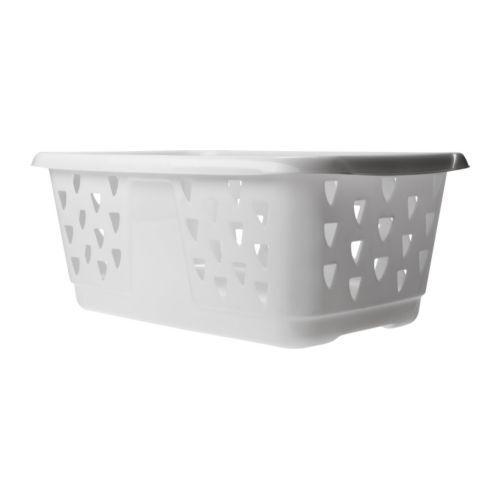 Laundry Basket Washing Clothes White Plastic Blaska Ikea L58cm x W38cm x 24cm