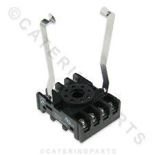 RE02 8 ROUND PIN PLUG IN RELAY SOCKET BASE OCTAL TYPE DIN RAIL MOUNT PF8+CLIP