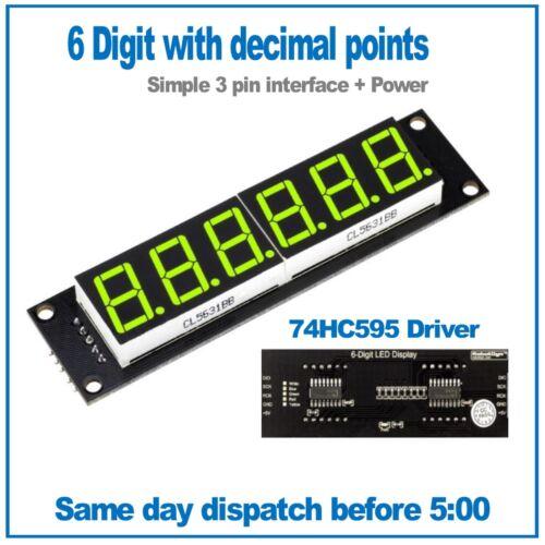 6 Digit Green seven segment led display module 74HC595 driver RobotDyn
