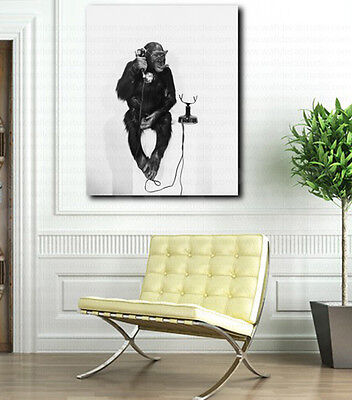 Chimpanzee on the Phone Monkey Business Repro Canvas Art Poster Print Wall Decor