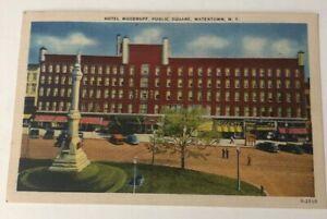 Watertown-NY-Postcard-Hotel-Woodruff-Public-Square-Vintage-New-York